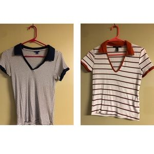 TWO Collared V-Neck Tee's